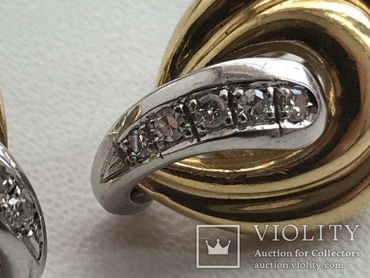 Золотые серьги с бриллиантами Италия, фото №6
