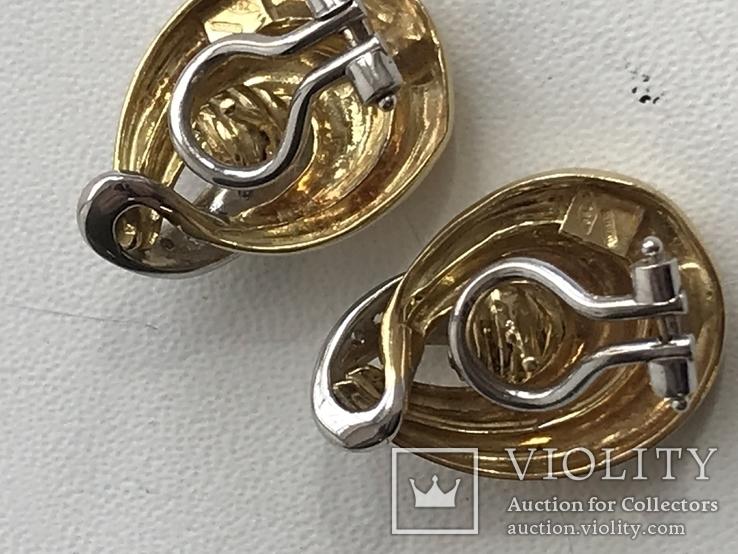 Золотые серьги с бриллиантами Италия, фото №7