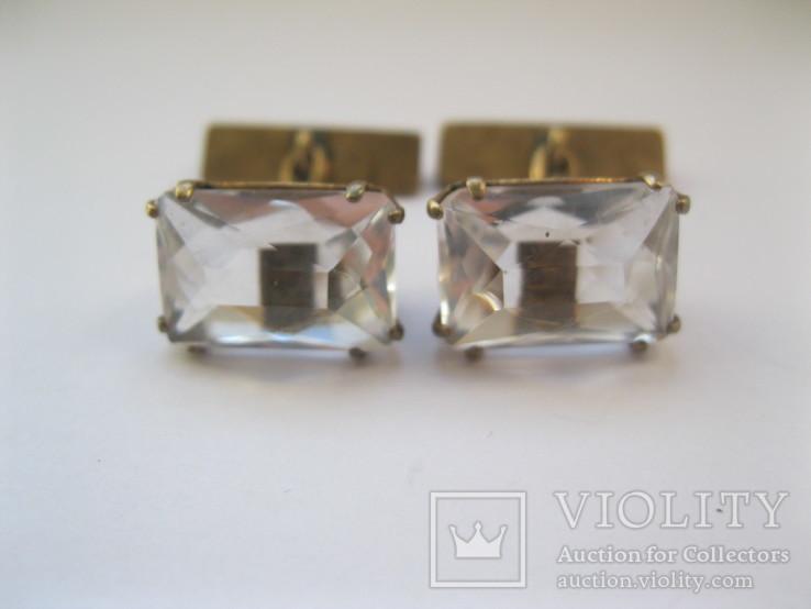 Серебряные позолоченные запонки, фото №2