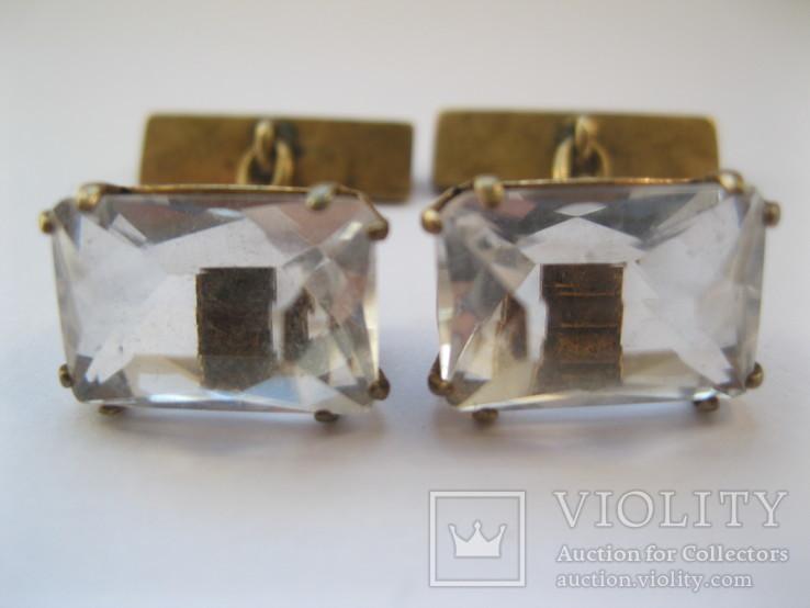 Серебряные позолоченные запонки, фото №3
