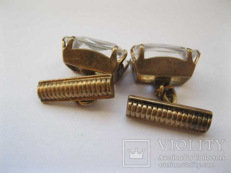 Серебряные позолоченные запонки, фото №5