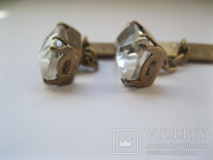 Серебряные позолоченные запонки, фото №7