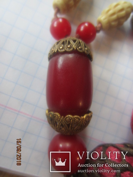 Сотуар бусы бакелит Резная Кость винтаж, фото №13
