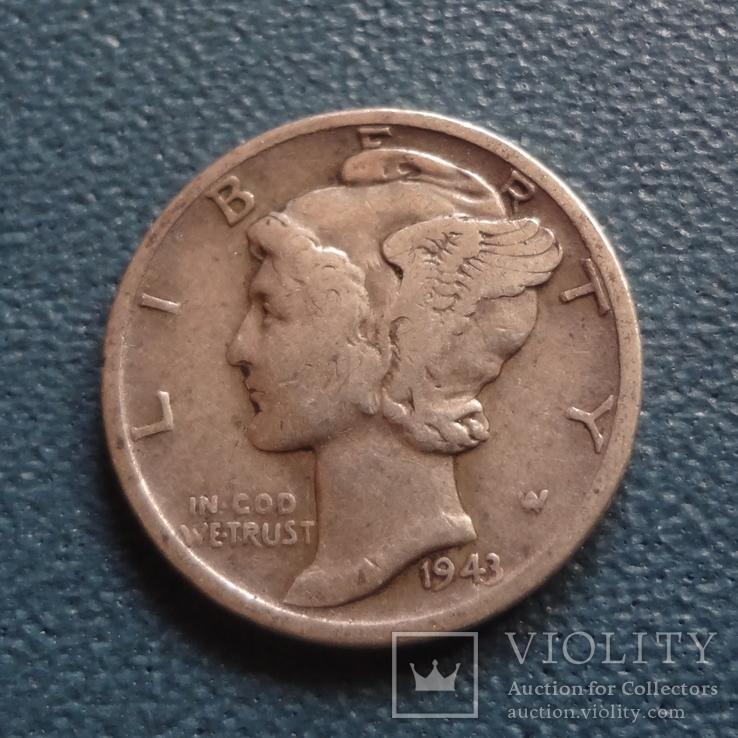 10 центов 1943 D  США  серебро   (Z.2.1)~, фото №2
