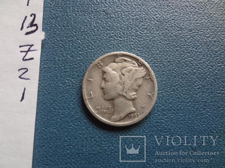 10 центов 1943 D  США  серебро   (Z.2.1)~, фото №4