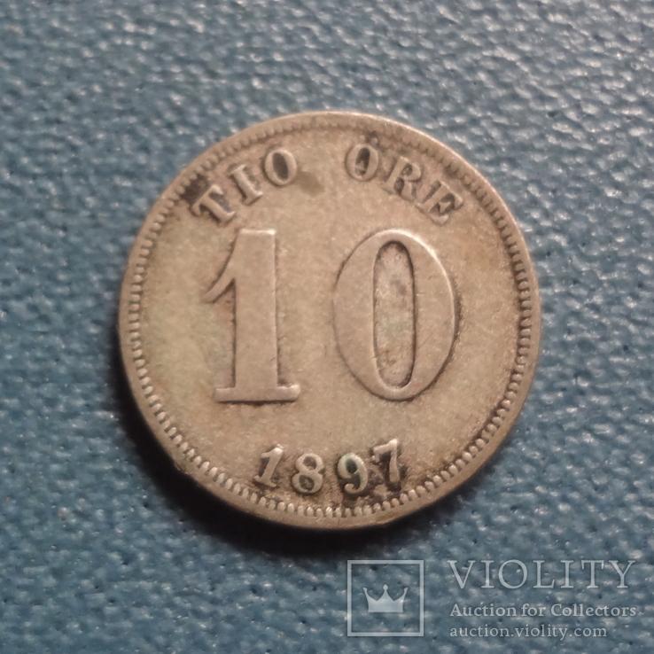 10 эре 1897  Швеция  серебро   (Z.3.1)~, фото №3