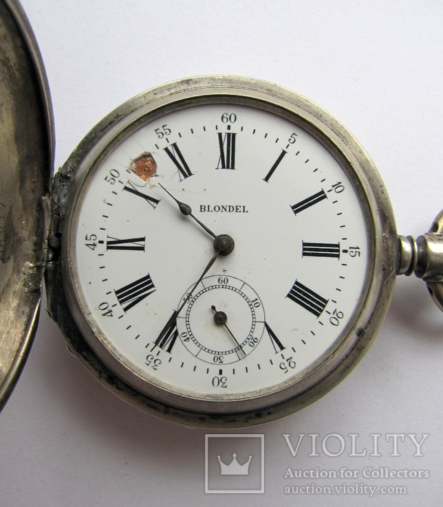 Часы карманные Blondel . Двойная крышка . Серебро, фото №8