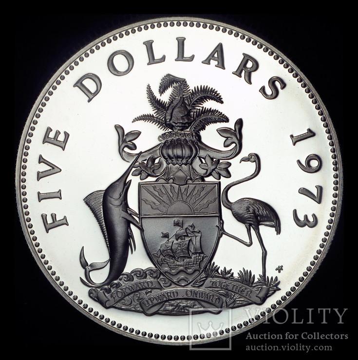 Багамские острова 5 долларов 1973 пруф серебро 42,12 грамм 925 пробы