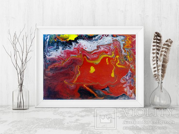 Оранжевый флюид 1 (акрил/оргалит) 35х45 см, фото №4