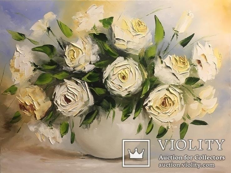 Картина «Белые розы» масло мастихин 45х60