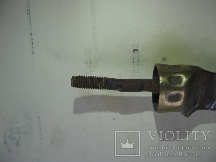 Старинный нож, состояние на фото, часть рукояти из желтого металла, фото №3