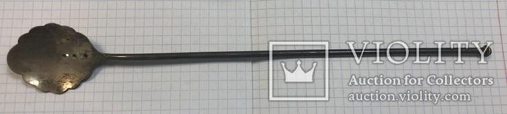 Серебряная коктельная ложка 916 пробы. 26 см. 25,6 грамм, фото №2
