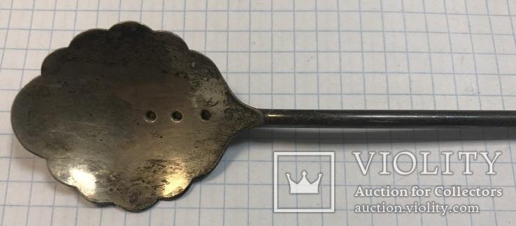Серебряная коктельная ложка 916 пробы. 26 см. 25,6 грамм, фото №3