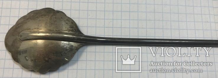 Серебряная коктельная ложка 916 пробы. 26 см. 25,6 грамм, фото №6