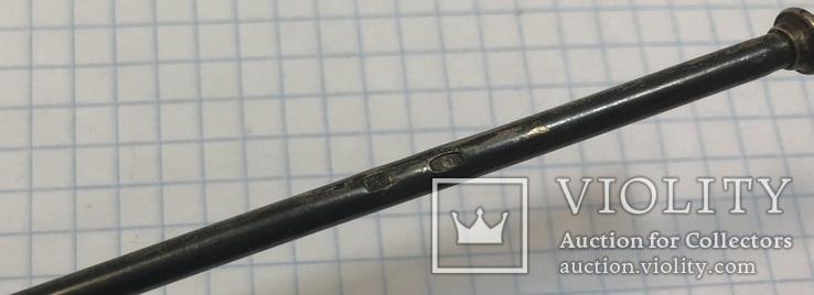 Серебряная коктельная ложка 916 пробы. 26 см. 25,6 грамм, фото №8