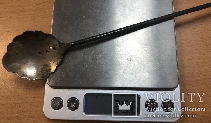 Серебряная коктельная ложка 916 пробы. 26 см. 25,6 грамм, фото №11