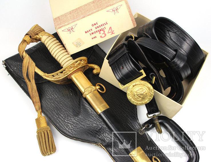 Сабля морского офицера с чехлом и поясом в родной коробке