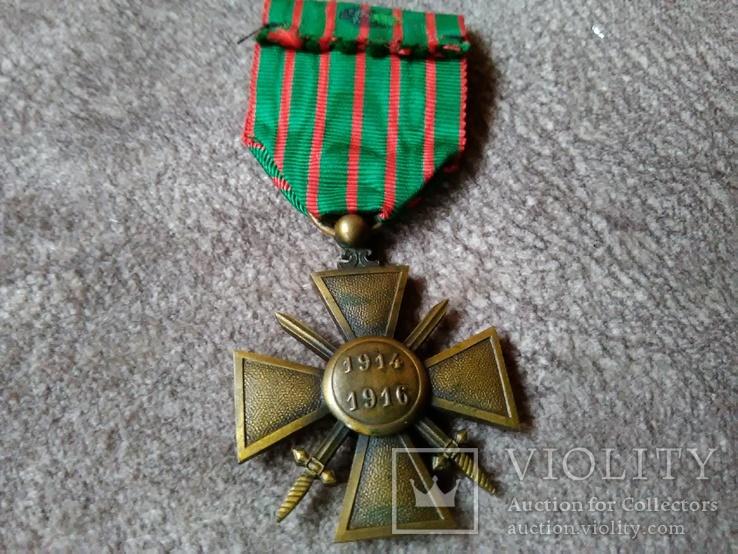 Военный Крест 1914-1918 годов Франция, фото №3