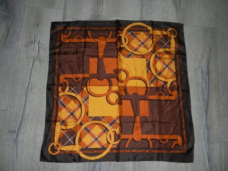 Longchamp,paris,оригинал, коричневый шелковый платок,натуральный саржевый шелк,новый.