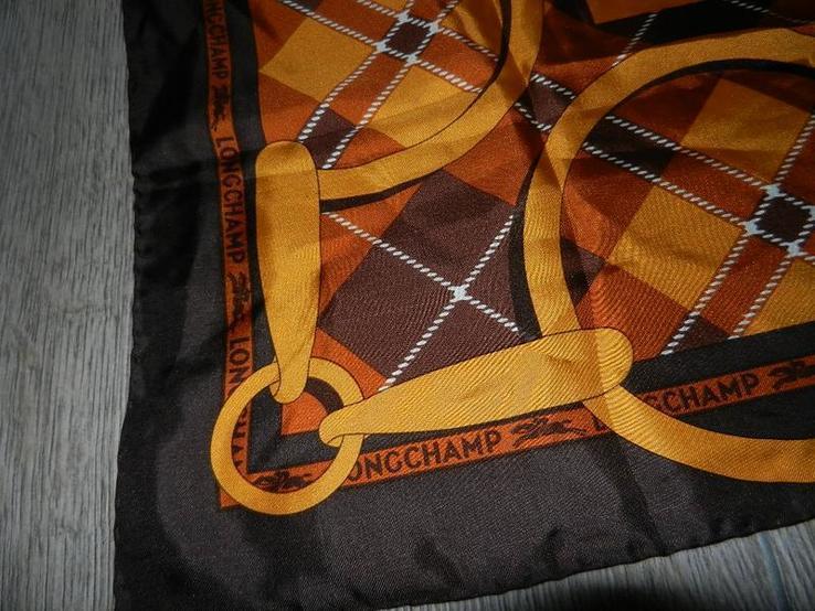 Longchamp,paris,оригинал, коричневый шелковый платок,натуральный саржевый шелк,новый., фото №3