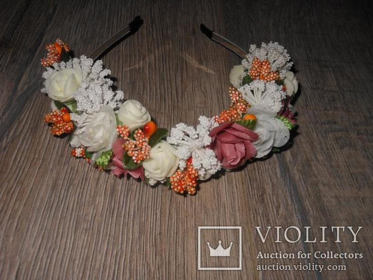 Обруч,ободок,венок,веночек искусственные цветы, фото №2