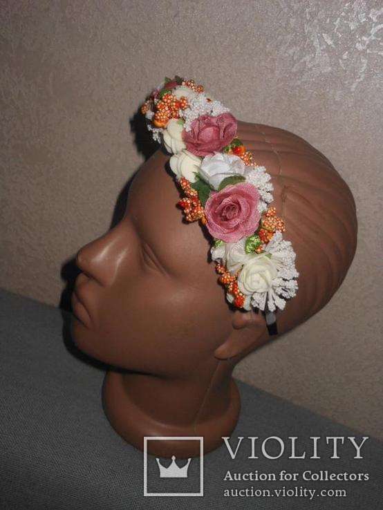 Обруч,ободок,венок,веночек искусственные цветы, фото №4