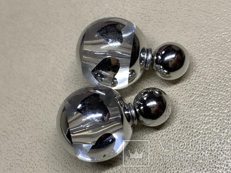 Новые серьги-пуссеты шары Диор сердечки ,серебристый металлик, фото №2