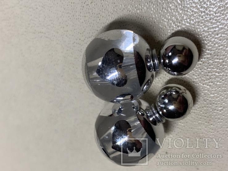 Новые серьги-пуссеты шары Диор сердечки ,серебристый металлик, фото №5