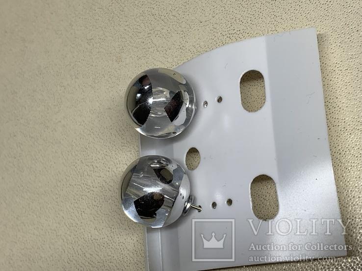 Новые серьги-пуссеты шары Диор сердечки ,серебристый металлик, фото №7