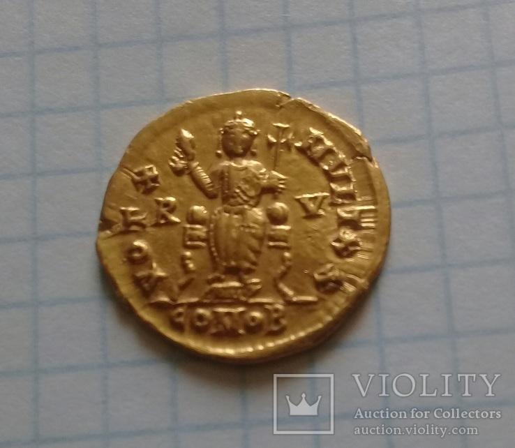 Золотий Солід Valentiniana III, фото №4