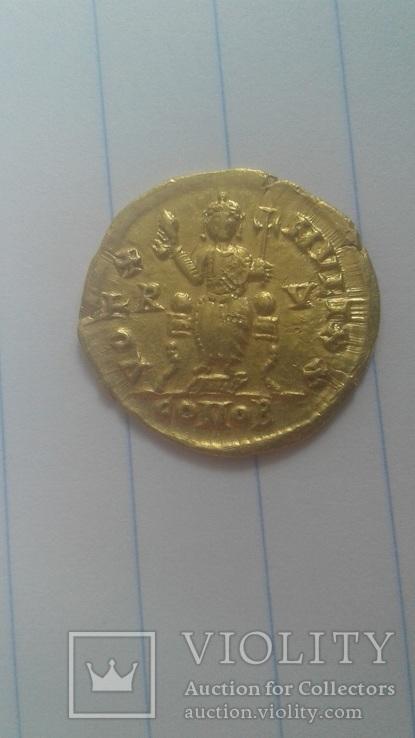 Золотий Солід Valentiniana III, фото №7