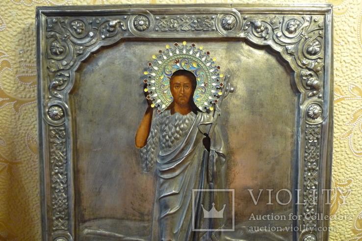 Икона Иоанн Креститель в кованном серебряном окладе с эмалями., фото №3