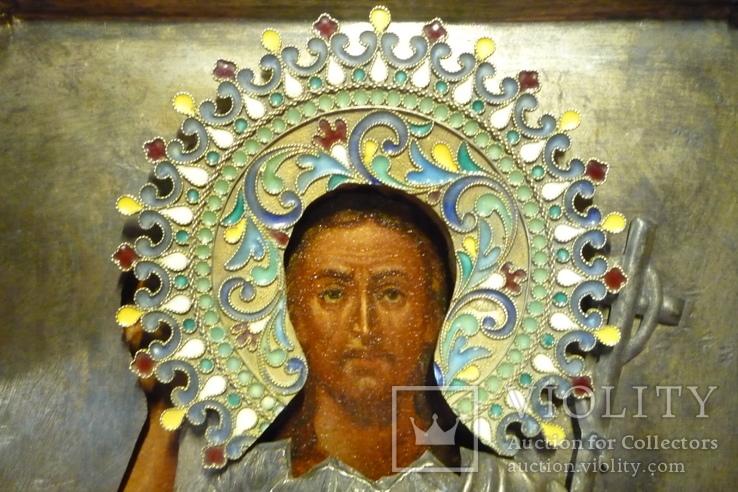 Икона Иоанн Креститель в кованном серебряном окладе с эмалями., фото №4