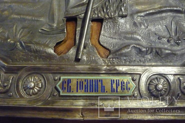 Икона Иоанн Креститель в кованном серебряном окладе с эмалями., фото №6
