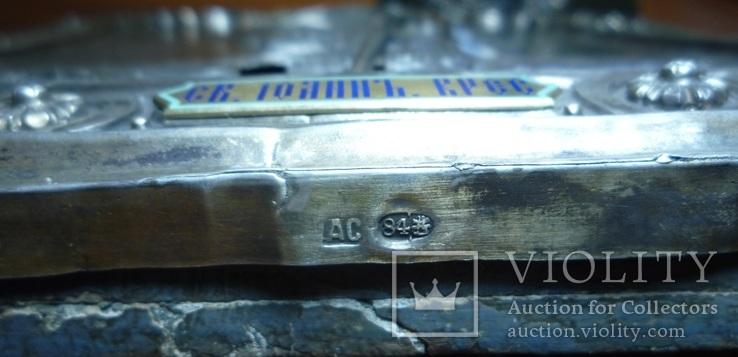 Икона Иоанн Креститель в кованном серебряном окладе с эмалями., фото №7