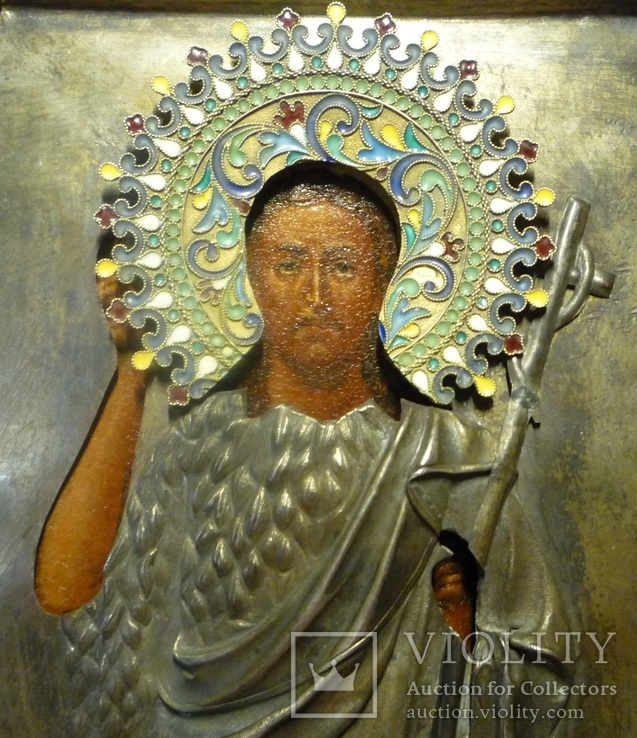 Икона Иоанн Креститель в кованном серебряном окладе с эмалями., фото №8