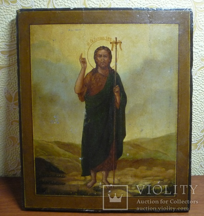 Икона Иоанн Креститель в кованном серебряном окладе с эмалями., фото №9