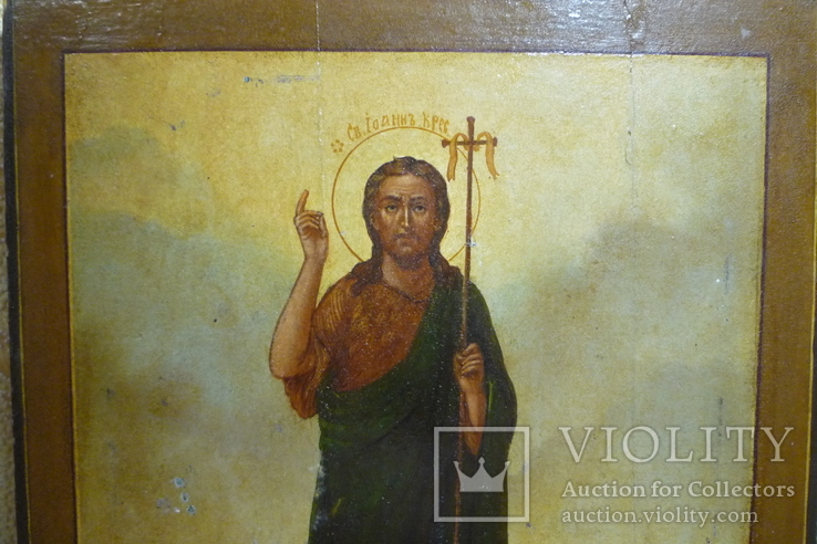 Икона Иоанн Креститель в кованном серебряном окладе с эмалями., фото №10