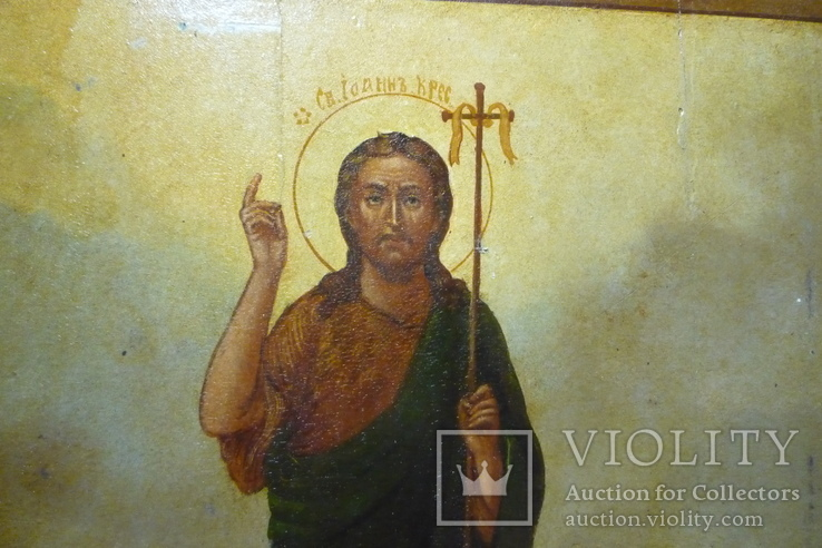 Икона Иоанн Креститель в кованном серебряном окладе с эмалями., фото №11