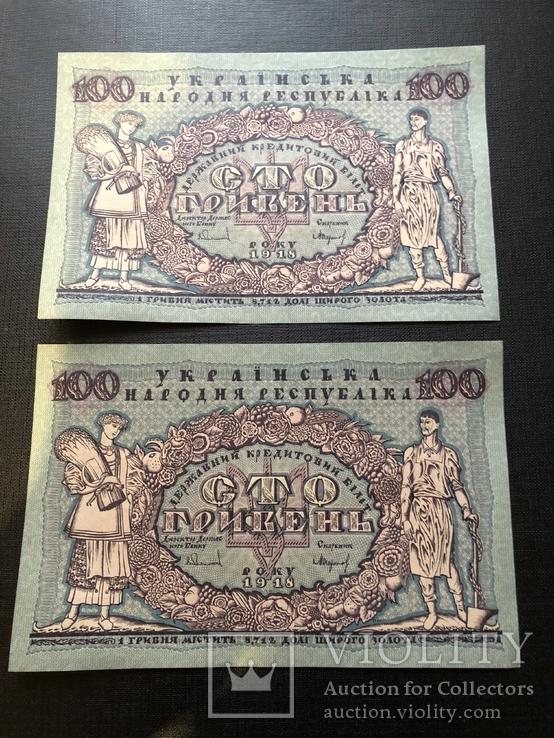 Пара 100 гривень 1918 з пачки UNC А.4283292 та А.4283293