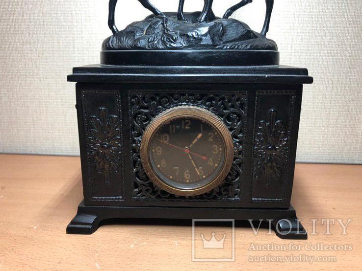 """Каминные часы Касли """"Олени на горе"""" чугун 1956 год, фото №4"""