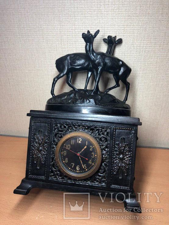 """Каминные часы Касли """"Олени на горе"""" чугун 1956 год, фото №9"""