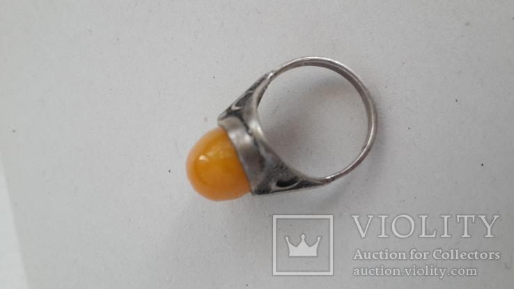Кольцо серебряное  с янтарем. 875(звезда), фото №3