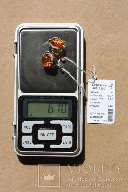 Серебряные серьги с янтарем и золотыми пластинами, фото №4