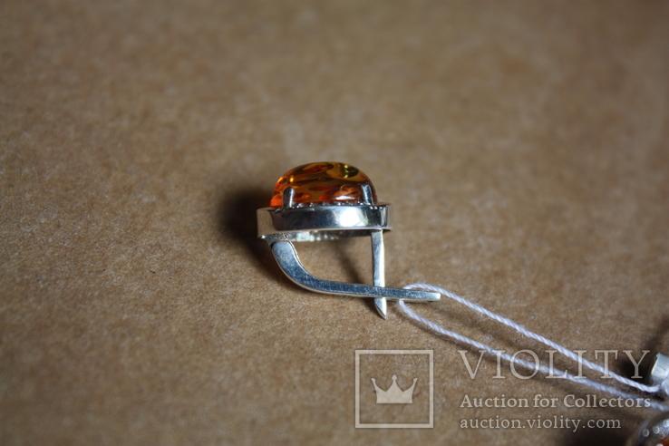Серебряные серьги с янтарем и золотыми пластинами, фото №5