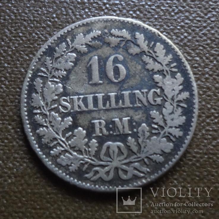 16 скиллингов 1856  Дания   серебро     (А.7.22)~, фото №2