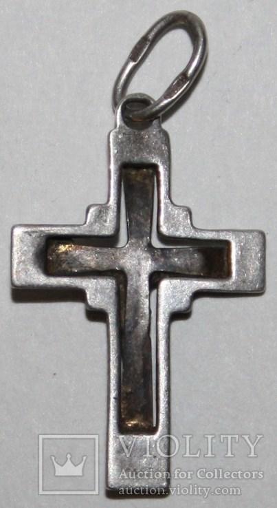 Серебрянный католический крестик (трезубец.,925 проба) Украина, фото №3