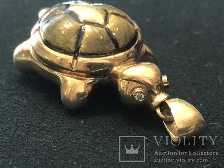 Кулон Черепаха. Золото 750 проба, фото №2