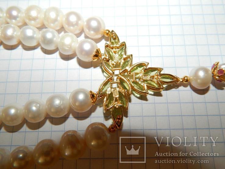 Ожерелье жемчуг + рубины + перидоты 487 карат, фото №7