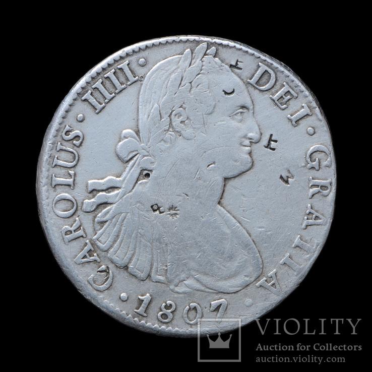 8 Реал 1807 Карл Четвертый, Мексика С Азиатскими Надчеканами